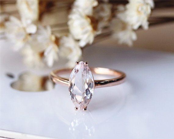 Solid 14K Rose gold Morganite Ring Marquise Cut Pink Morganite Engagement Ring Wedding Ring Anniversary Ring