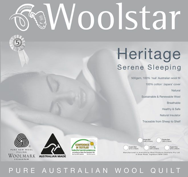 Heritage Wool WOOLSTAR  Features: Australian wool fill 450GSM 100% cotton japara cover Shell quilt pattern enhancing loft and drape Five year guarantee Dry clean only - #quilts