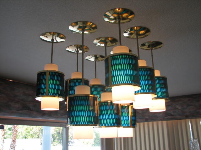 Nine Vintage Moe Ceiling Lights In A Row In This 1966 Rat Pack Time Capsule  In Las Vegas. Read More: Fab Features In 11 Time Capsule Houses    Bowling  ...