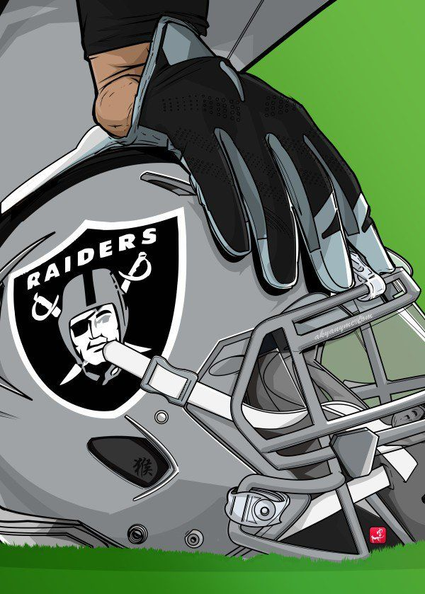 "NFL Team Helmets Oakland Raiders #Displate artwork by artist ""Akyanyme Dotcom"". Part of a 32-piece set featuring helmet designs based on team emblems from the NFL National Football League. £38 / $51 per poster (Regular size), £76 / $102 per poster (Large size) #NFL #NationalFootballLeague #AmericanFootball #SuperBowl #OaklandRaiders #Raiders"