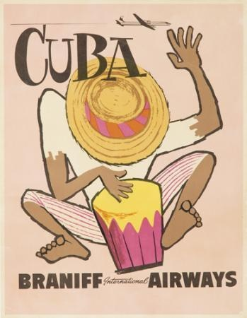Braniff ceased operations in the late 1980s. However, at the time of this poster\'s production, the airline was in it\'s heyday. And to that end, an anonymous posterist calls upon the talents of a conga-playing native to drum up a little Braniff business.