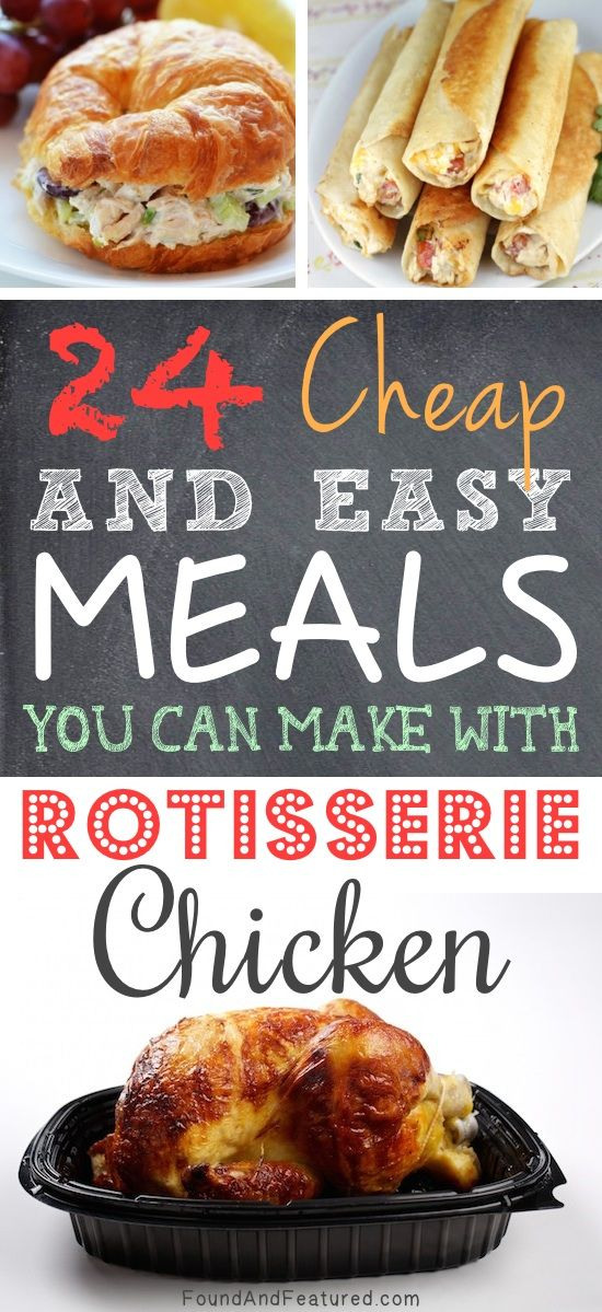 SO EASY!! I love rotisserie chicken! Lots of easy and cheap meal ideas using rotisserie chicken.