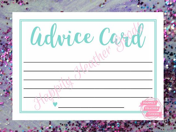 TITLE: advice card DESCRIPTION: printable game for a bridal shower in robin egg blue with a cursive font; one game per page; this template is also perfect for teal bridal shower games and turquoise bridal shower games  Your download will contain the following: >> 5x7 (JPG) - one