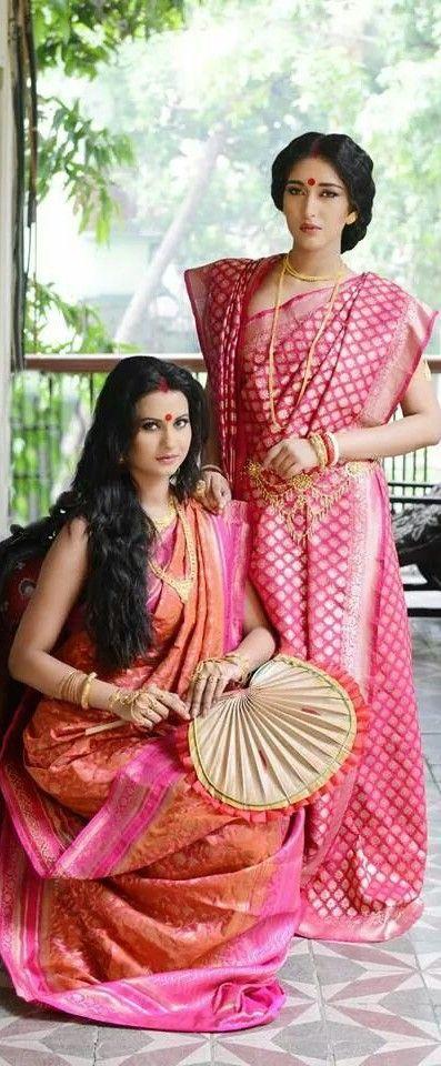 Tussar Benarasi Silk draped in the traditional Bengali way via @monami_india