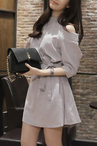 Stylish Stand Collar Hollow Out 3/4 Sleeve Belted Dress For Women
