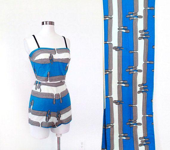 1960s Swim Suit and Towel SET / Amazing Midcentury Print