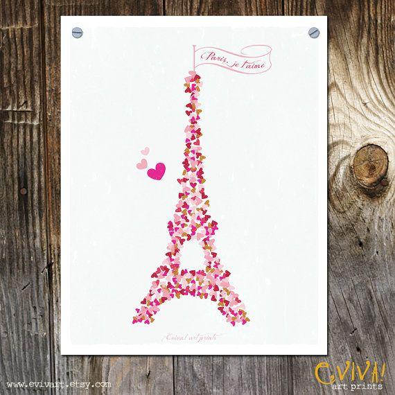 Paris Je t'aime Paris France Art Print Tour Eiffel by evivart