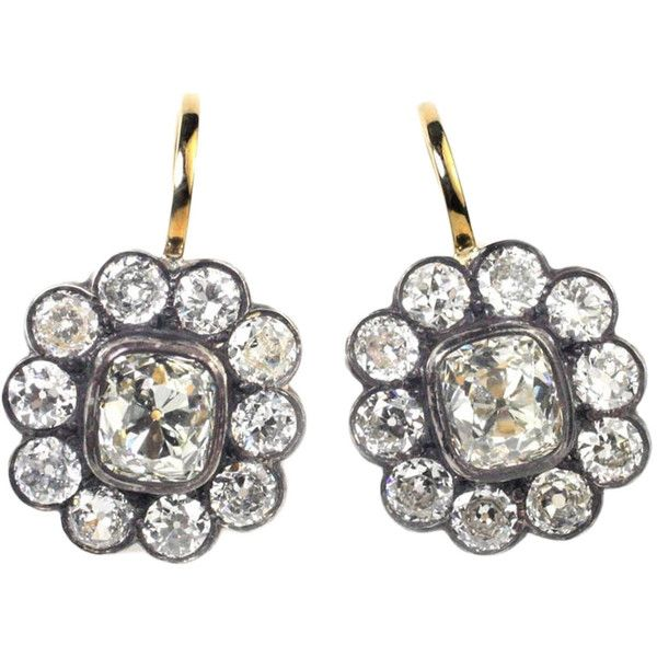 Pre-owned Old Mine Cut Diamond Silver Gold Cluster Earrings ($34,000) ❤ liked on Polyvore featuring jewelry, earrings, more earrings, diamond earrings, cluster earrings, antique diamond earrings, silver earrings and gold diamond earrings