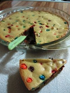 """Best homemade cookie cake ever    1cup + 1 tbs  AP Flour  1/4 tsp baking soda  3/4 cup butter softened (I used """"light"""" country spread)  1/2 cup brown sugar  1 egg  1 tsp vanilla extract  1 Texas shaped container of M's- OR- 1-ish cup.    Preheat oven to 325*  Cream butter and sugar. Add in egg and extract and blend. The combine flour and baki"""