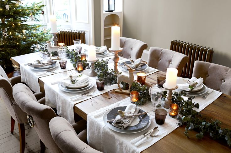 You can place runners across the table to create a place setting for two or more. This is a really elegant contemporary look.