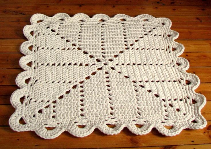 Granny square rug crochet area rug 80x80cm / 31x31 inch cream (off white). €54.00, via Etsy.