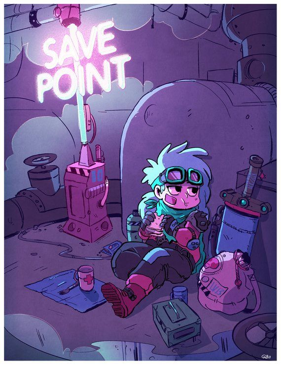 Video Game Art Print – Save Point RPG Wall Art – Game