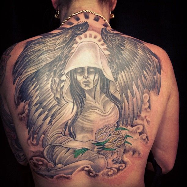 good grey ink angel tattoo on back body - http://tattooswall.com/good-grey-ink-angel-tattoo-on-back-body.html #angel, angel tattoos, back, body, good, grey, ink, on, tattoo