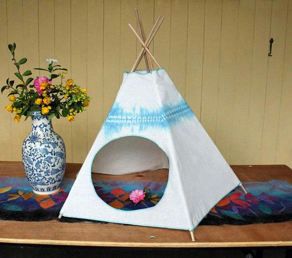 Cat Bed  Cat Teepee  Cat Tent  Mediterranean Blue by Kiteepee