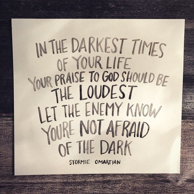 Let the enemy know you're not afraid of the dark. I'm currently praying through her Power of a Praying Wife. It really is eye and heart opening.