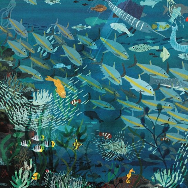 "Marc Martin, from his book ""A River."" This page is inspired by the Great Barrier Reef. The book: http://www.marcmartin.com/a-river/ex2j9s2r58o67vsjx4viuwmxoo6fjw  Video of the book being read by a little girl: https://www.youtube.com/watch?v=mRcKPpqeKx4"