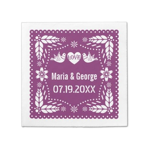 Papel picado love birds purple wedding fiesta
