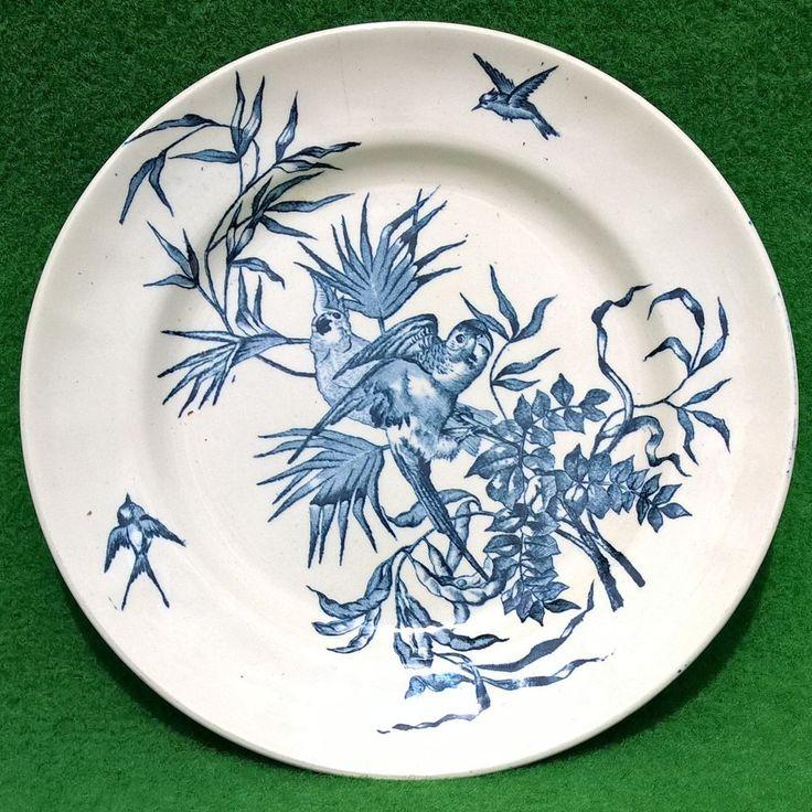 assiette plate antique longchamp congo terre de fer rare french plate teller antik fajanszok. Black Bedroom Furniture Sets. Home Design Ideas