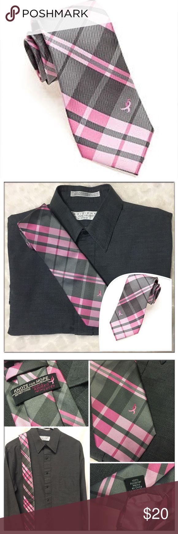 "🆕SUSAN G KOMEN ""Knots for Hope""🎗 Awareness tie SUSAN G KOMEN ""Knots for Hope""🎗 Pink & gray striped Cancer Awareness necktie. NIP Length-18""x3"" at widest part. Shirt sold separately in my closet. MSRP $40.00 Reasonable offers welcome. Susan G Komen Accessories Ties"