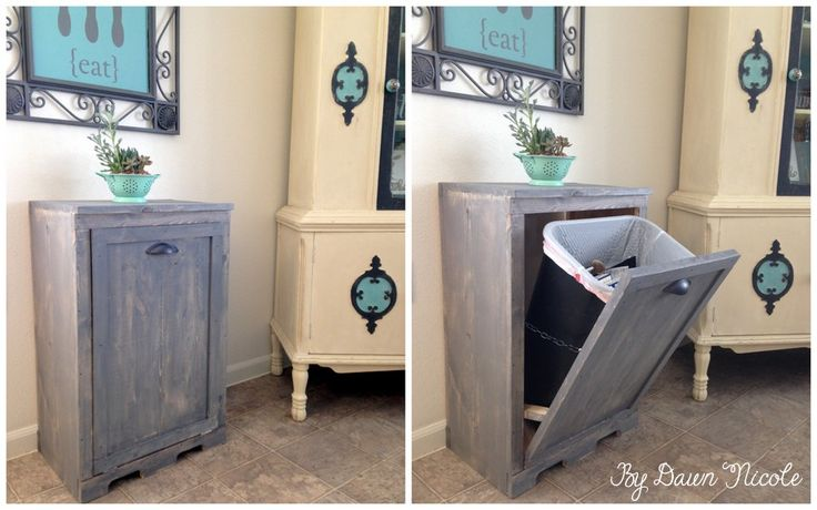 Wood Tilt Out Trash Can Cabinet | bydawnnicole.com with link to AnaWhite.com for original plans.
