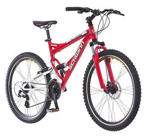 cool Schwinn Protocol 1.0 Men's Dual-Suspension Mountain Bike (26-Inch Wheels, Red)
