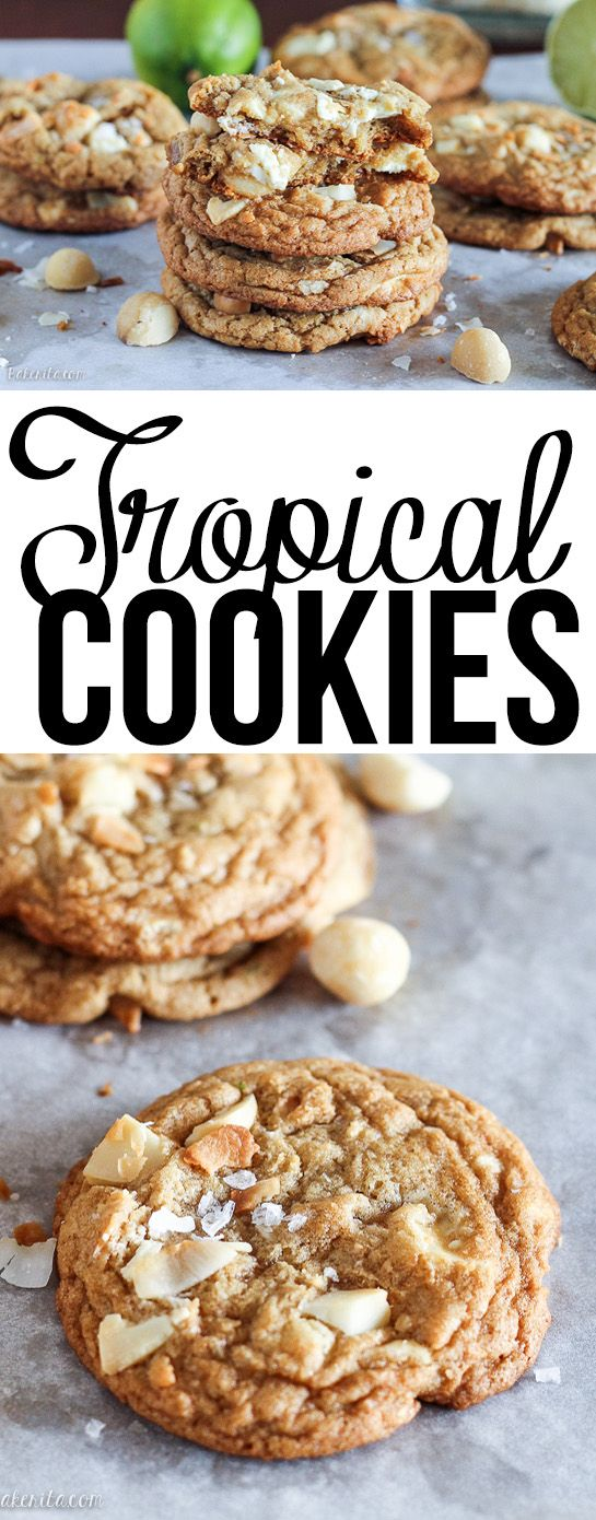 These Tropical Cookies are loaded with white chocolate, macadamia nuts, lime zest, and toasted coconut! These tropical treats will have you dreaming of a vacation.
