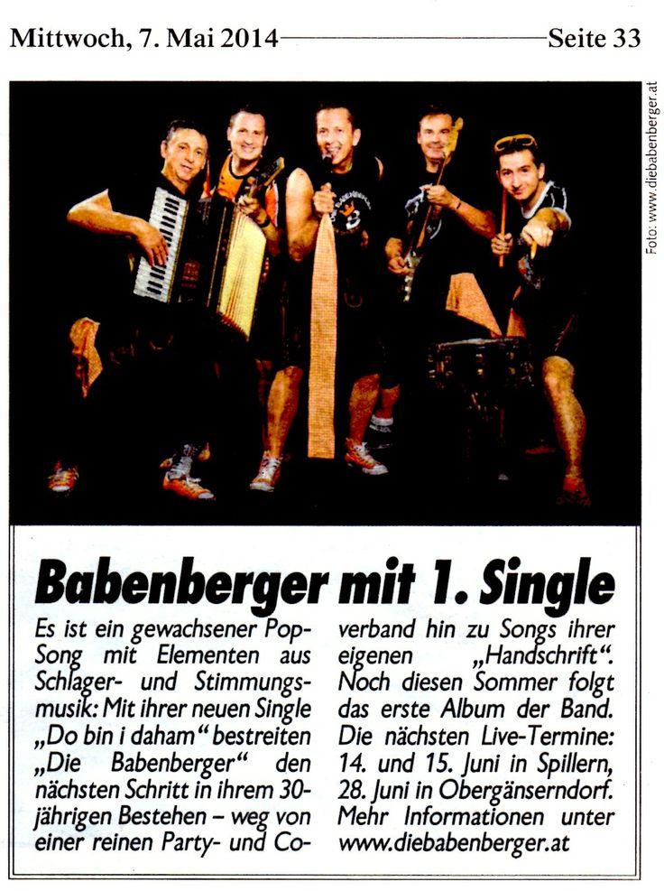 Die Babenberger - zur Single Veröffentlichung von Do bin I daham in der Kronen Zeitung. www.diebabenberger.at