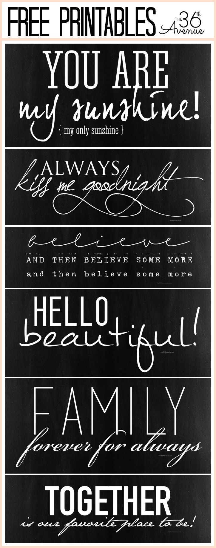 Free Fonts and Free Quote Printables at the36thavenue.com