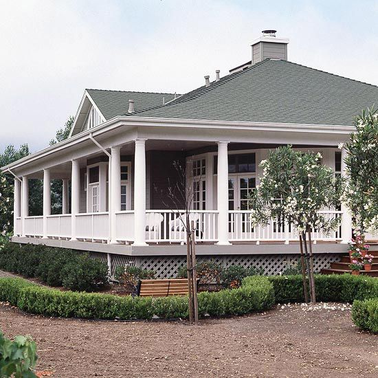 Inspired by the style of Craftsman-era homes, this newly built California house features a wraparound porch that encircles the whole structure: http://www.bhg.com/home-improvement/porch/porch/wrap-around-porch-ideas/?socsrc=bhgpin051914allwrappedup&page=5