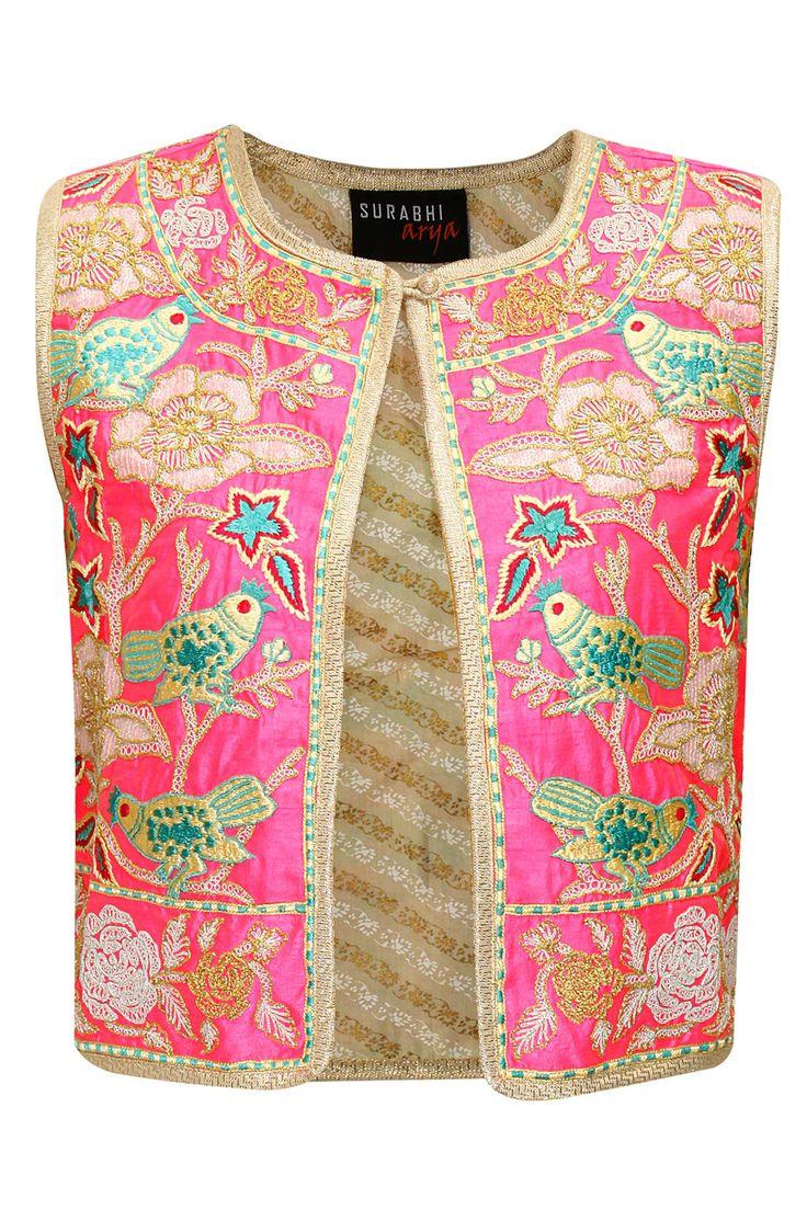 Pink sequins embroidered bird jacket by Surabhi Arya.