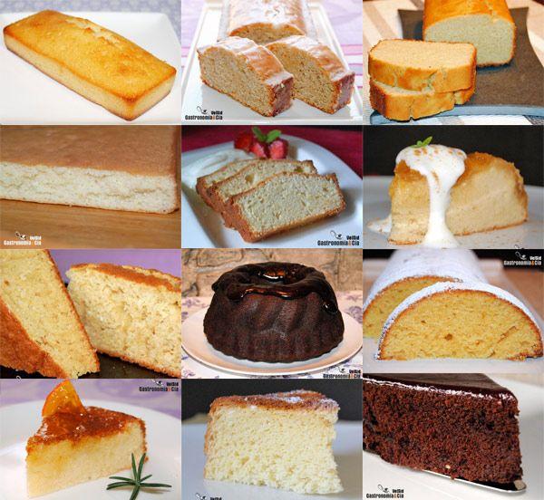 Doce recetas de bizcocho. Twelve receipes to make a cake
