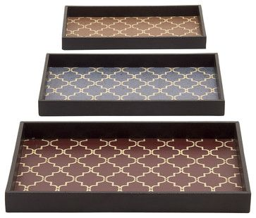 Unique And Classy Wood Vinyl Trays, Set of 3 traditional-serving-trays