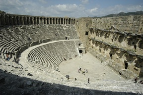 While reading Greek and Roman theatre, I was inspired by the play and I decided to search about the period of Roman.   According to the website, this picture is Roman Theater in Aspendos. this theater is one of the largest in Pamphylia region of Anatolia. Between 15,000 and 20,000 audience can seat in this theater.