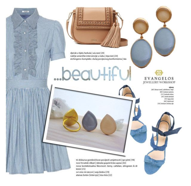 Beautiful! by helenevlacho on Polyvore featuring polyvore fashion style Miu Miu Alexandre Birman Kate Spade clothing, Evangelos Jewellery