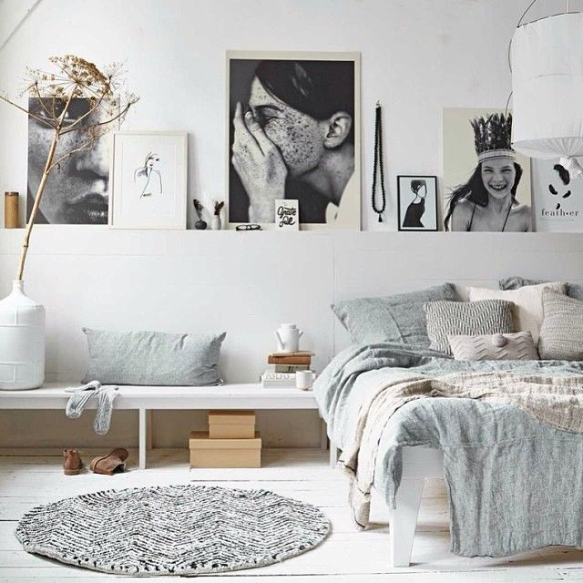 Black and white arty bedroom with bench. Styling: Cleo Scheulderman photo: Alexander van Berge