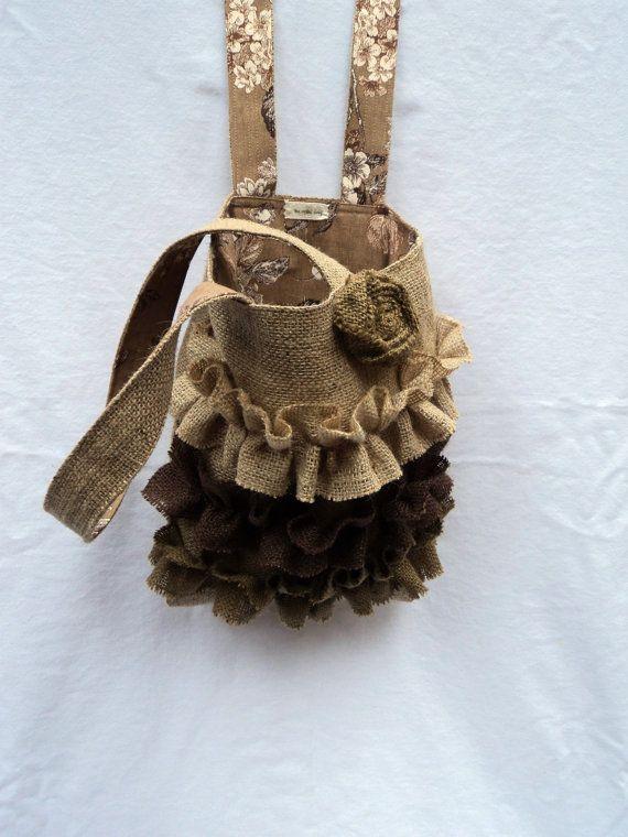 Burlap Purse Burlap Bag Ruffled Tote Bag by theruffleddaisy, $48.00