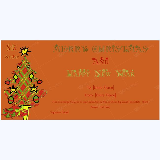 Christmas Tree Gift Certificate Template #christmas #gift #card #christmasgiftcard #christmasgiftcertificate