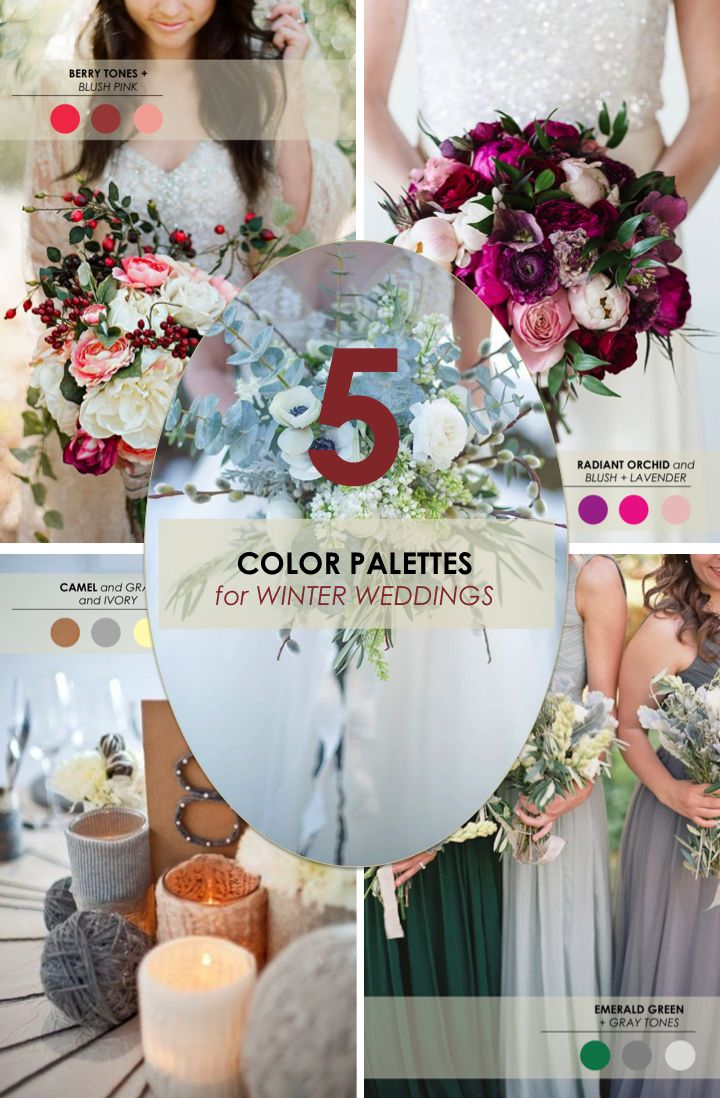 5 winter wedding color palettes colors blush and the for Winter wedding color palettes