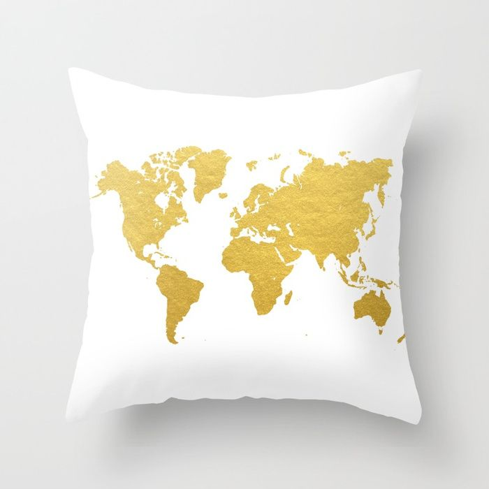 Buy Gold World Map Throw Pillow by bysamantha Worldwide shipping