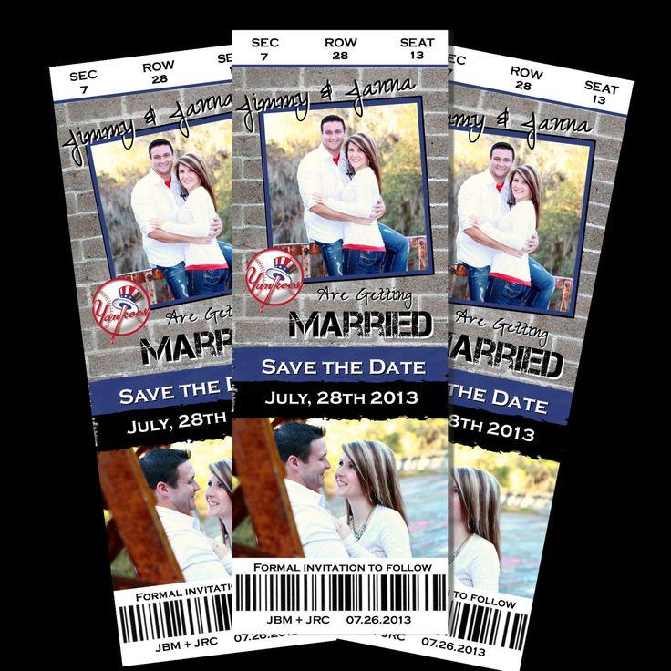 SAVE the Date Wedding BASEBALL Football Basketball Sports Ticket Invite Invitation Personalized Photo Custom card. $14.98,