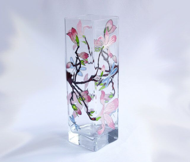 Pink glass vase Painted Glass Vase Glass flower vases Rectangular small vase Great gifts for mom Gift for grandmother Gift for wife Spring by Elwelry on Etsy https://www.etsy.com/listing/226900067/pink-glass-vase-painted-glass-vase-glass
