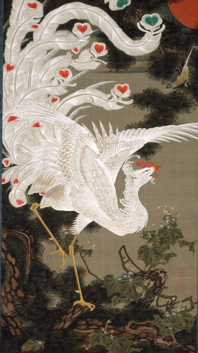 Art color rijeka - Japanese Phoenix It Jakuchu One Of A Set Of 30 Vertical Hanging Scrolls Colorful Realm Of Living Beings Ink And Color On Silk