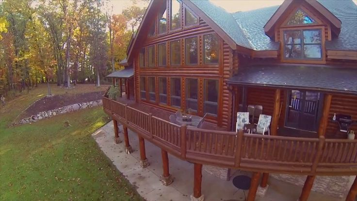 Amazing log cabin for sale! Cool example. Exceptional Log Home, Acreage and Waterfront