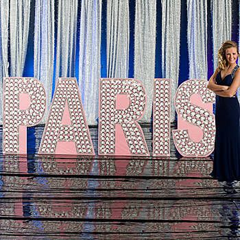 Accent your parisian event with our paris glittering for 3 foot cardboard letters