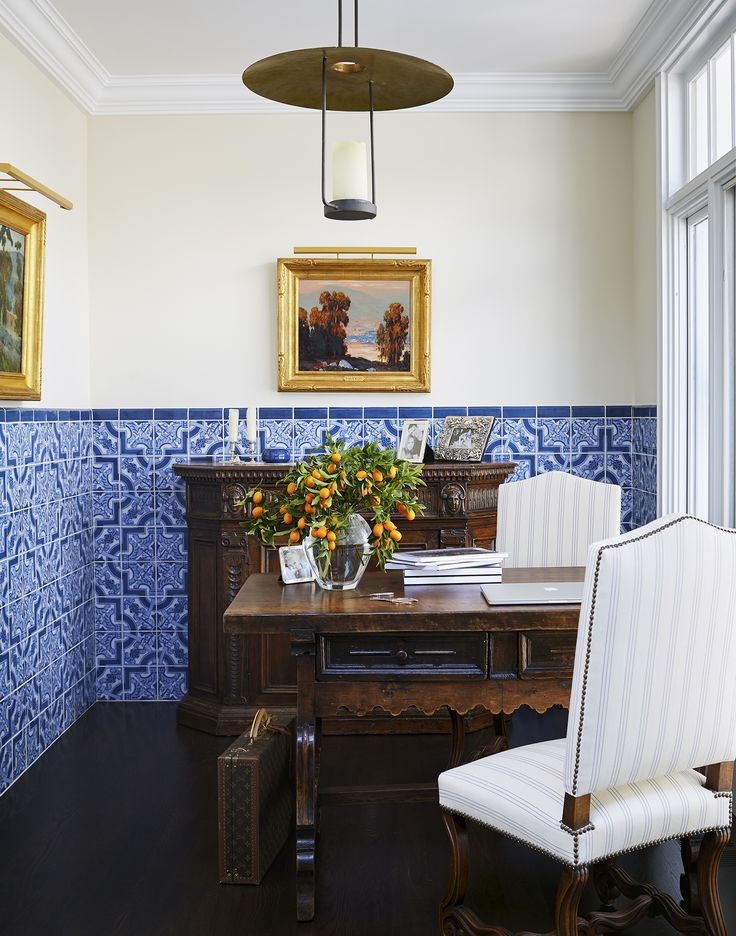 Office Space For Two Surrounded By Beautiful Blue And White Tiled Half Walls