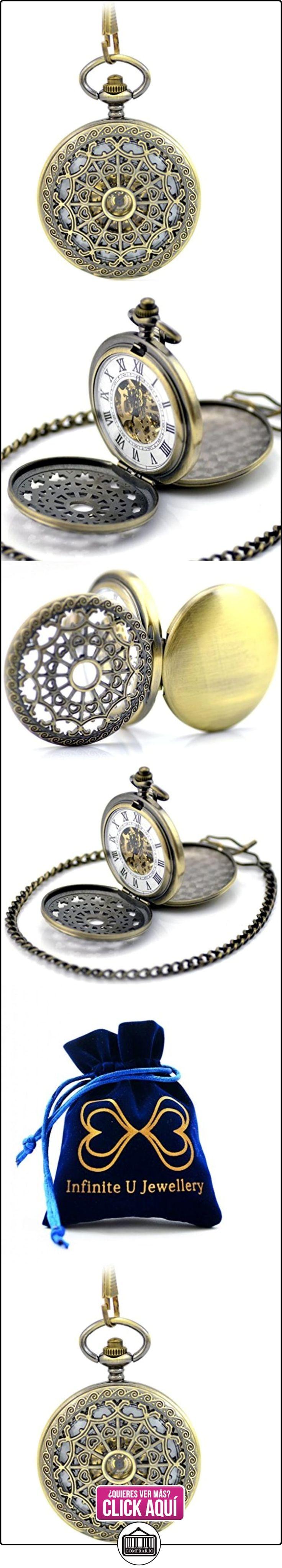 Infinite U Retro Redes de Corazones Colgante Collar Reloj de Bolsillo Mecánico, Dos Tapas  ✿ Joyas para mujer - Las mejores ofertas ✿ ▬► Ver oferta: https://comprar.io/goto/B00OMSWH84