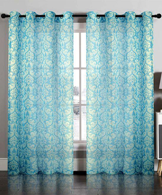 Aqua Blue Semisheer Damask Curtain Panel