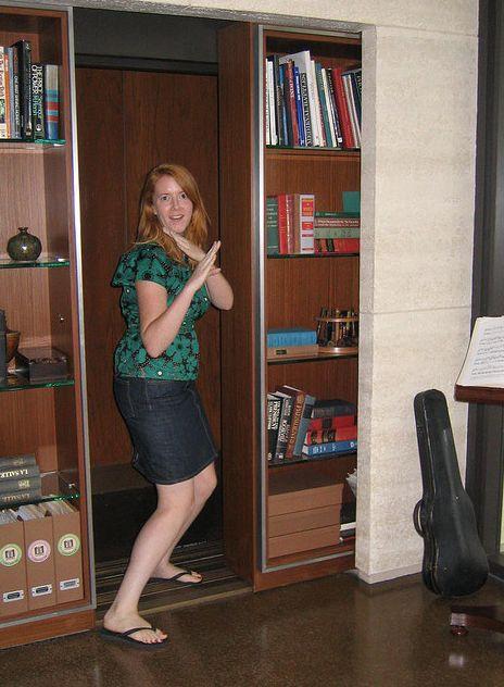 stashvault: Secret elevator door made from a sliding bookcase...great. Now  I have to get an elevator! | Shhhhh Secret rooms | Pinterest | Elevator door,  ... - Stashvault: Secret Elevator Door Made From A Sliding Bookcase