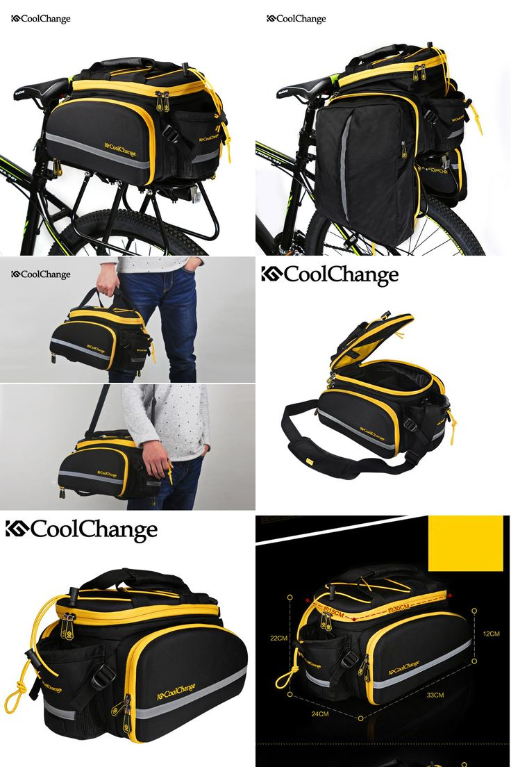 [Visit to Buy] CoolChange Bicycle Bag Reflective Bike Bicycle Rear Seat Trunk Bag Cycling Carrier Bag Rack Panniers Waterproof With Rain Cover #Advertisement