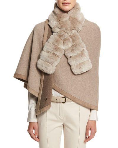 D12M8 Loro Piana Chinchilla Fur Accessory Collar, Golden Pepper